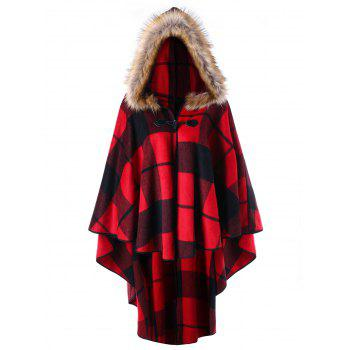 Plus Size Plaid Hooded High Low Cloak