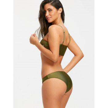 Cami Tube Floral Embroidered Bikini Set - BLACKISH GREEN L