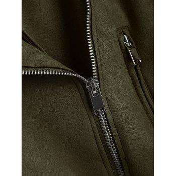 Faux Suede Zip Up Belted Jacket - ARMY GREEN L