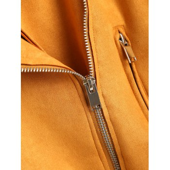 Faux Suede Zip Up Belted Jacket - MUSTARD M