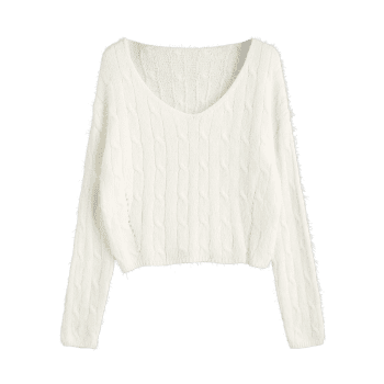 Cable Knit Textured Cropped Sweater - WHITE ONE SIZE