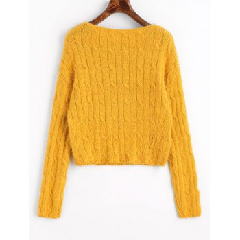 Cable Knit Textured Cropped Sweater - MUSTARD ONE SIZE