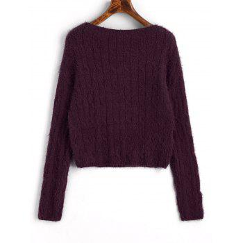 Cable Knit Textured Cropped Sweater - PURPLISH RED ONE SIZE