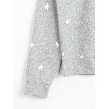 Cold Shoulder Star Cut Out Sweatshirt - GRAY L