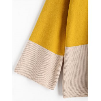 High Neck Two Tone Sweater - YELLOW ONE SIZE