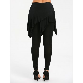 High Waist Handkerchief Skirted Leggings - BLACK L