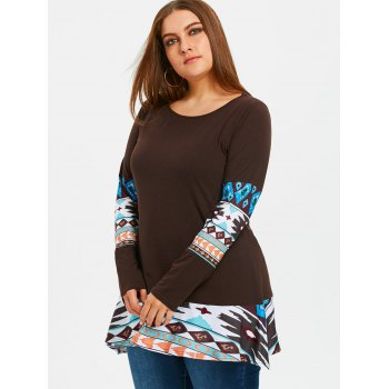 Aztec Printed Panel Plus Size Tunic T-shirt - DARK COFFEE 3XL