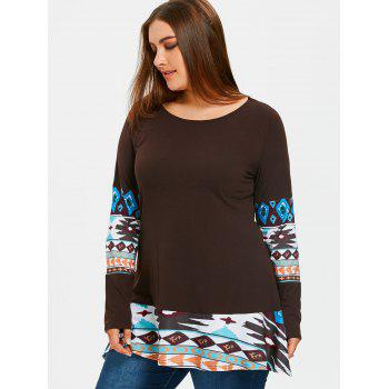 Aztec Printed Panel Plus Size Tunic T-shirt - DARK COFFEE 5XL