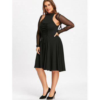 Plus Size Lace Up Cutout Gothic Dress - BLACK 5XL
