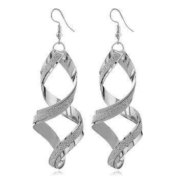 8-Shape Geometric Spiral Drop Earrings - SILVER SILVER