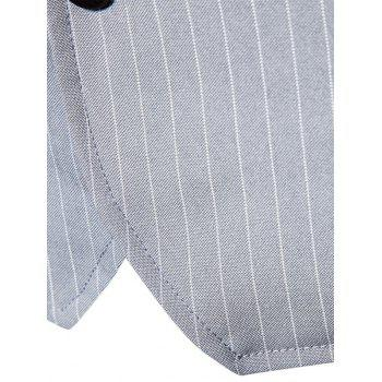 Single Breasted V Neck Vertical Stripes Waistcoat - GRAY M