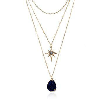 Natural Stone Star Geometric Layered Necklace - INK BLUE INK BLUE