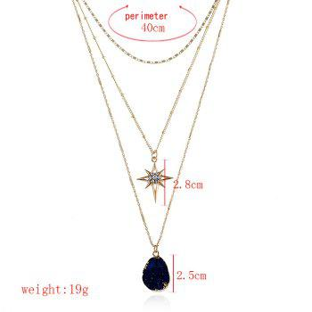 Natural Stone Star Geometric Layered Necklace -  INK BLUE