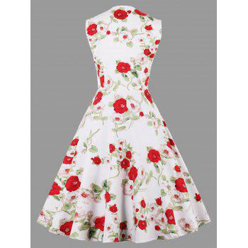 Vintage Floral Print Sleeveless Plus Size Dress - WHITE 4XL