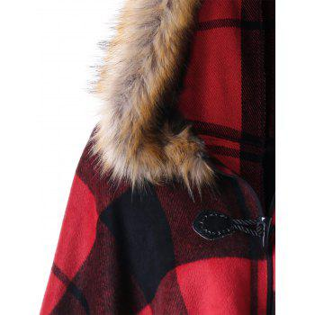 Plus Size Plaid Hooded High Low Cloak - RED PLAID 2XL