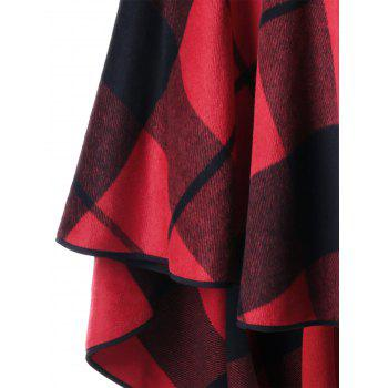 Plus Size Plaid Hooded High Low Cloak - RED PLAID 4XL