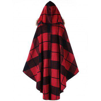 Plus Size Plaid Hooded High Low Cloak - RED PLAID 5XL