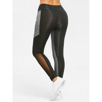 High Waist Heather Mesh Panel Yoga Leggings - BLACK M