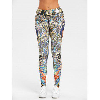 Peacock Feather Print Leggings - FLORAL M