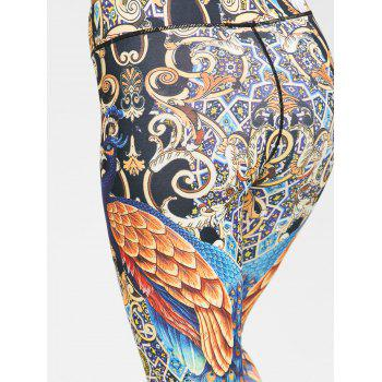 Peacock Feather Print Leggings - FLORAL L