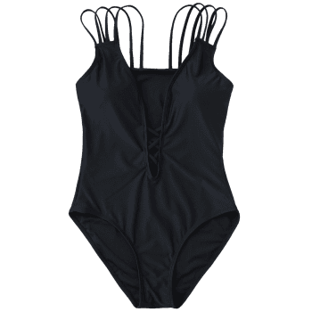 Strappy Padded One Piece Swimsuit - BLACK M