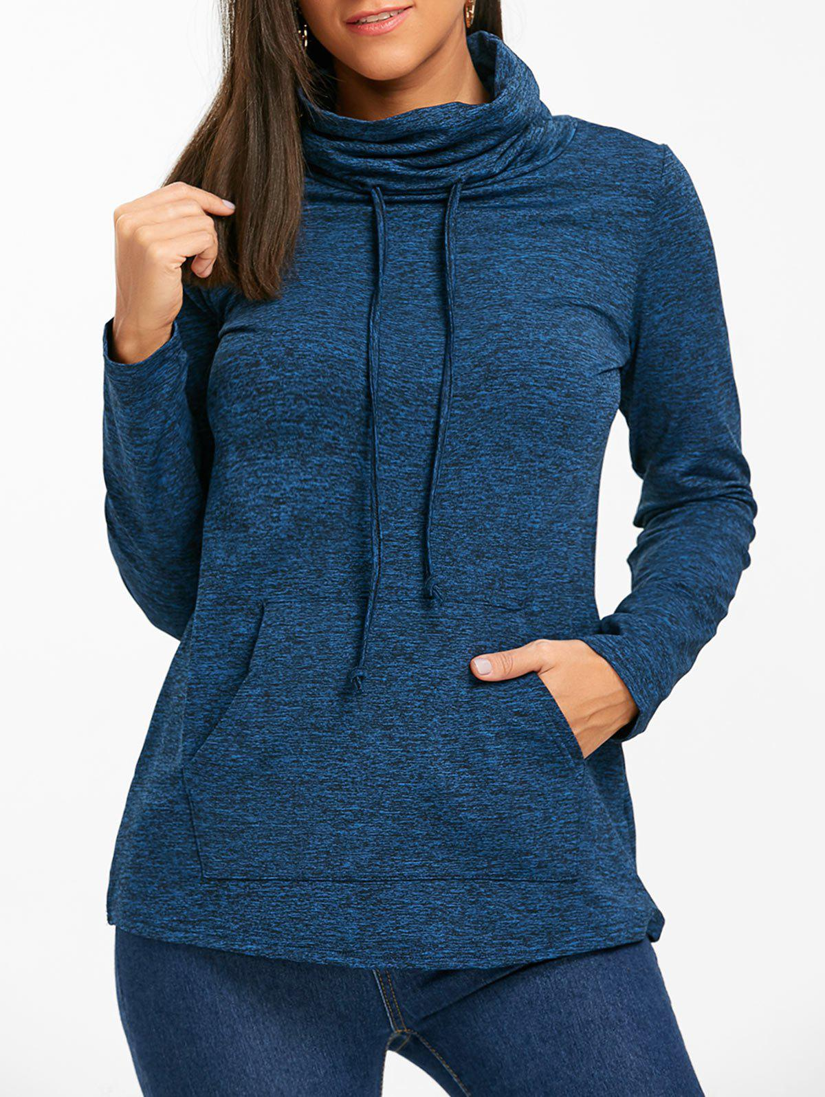 Cowl Neck Heathered Drawstring Sweatshirt - BLUE 2XL