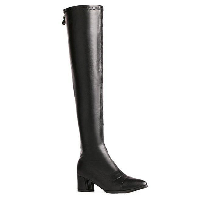 Block Heel Artificial Leather Over the Knee Boots 2018 winter thigh high boots women faux suede leather high heels over the knee botas mujer plus size shoes woman 34 43