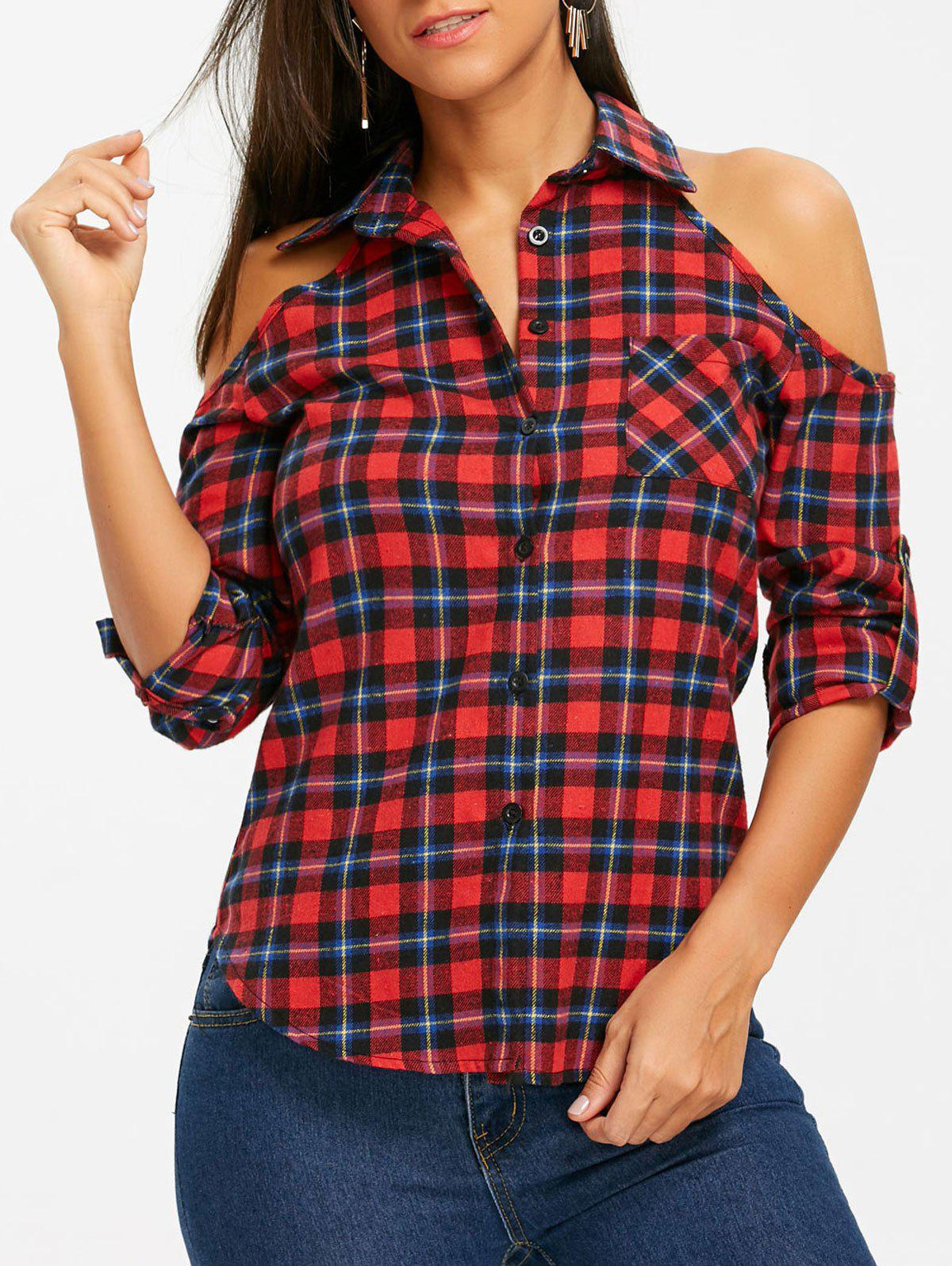 Button Up Plaid Open Shoulder Shirt - CHECKED S