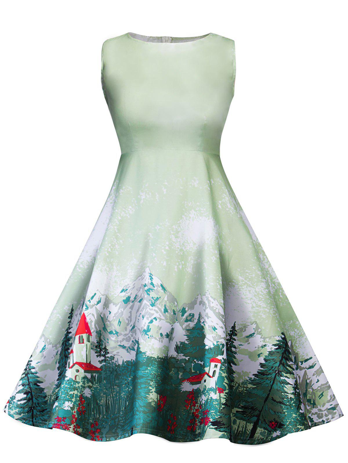 Retro Forest Printed Pin Up Dress - LIGHT GREEN 2XL