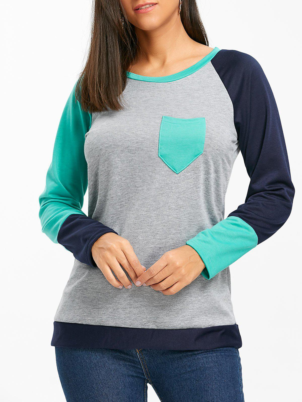 Raglan Long Sleeve Color Block Top - GREEN M