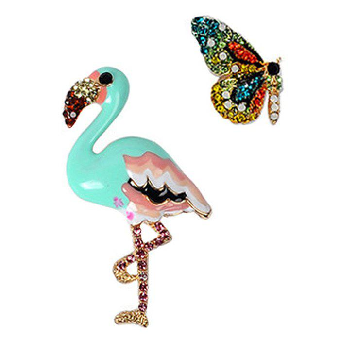 False Diamond Butterfly and Flamingo Brooches - BLUE