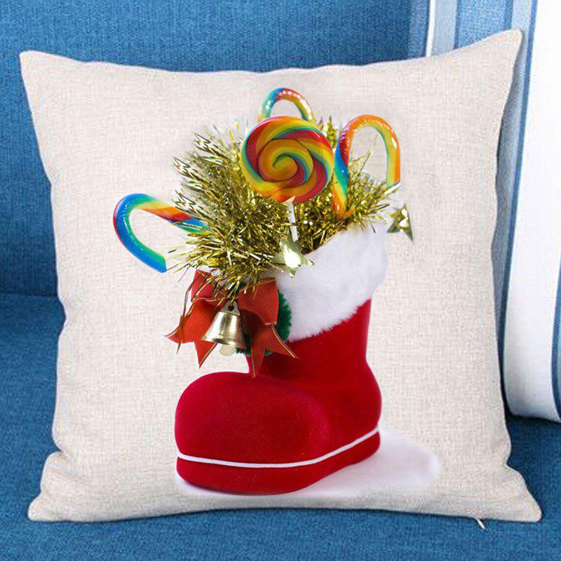 Christmas Candies Sock Patterned Throw Pillow Case - COLORFUL W18 INCH * L18 INCH