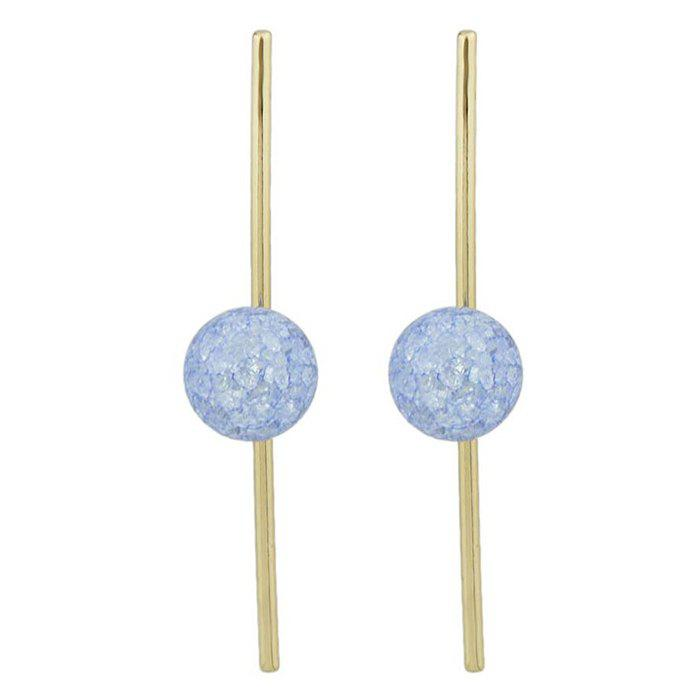 False Crystal Ball Drop Earrings - BLUE