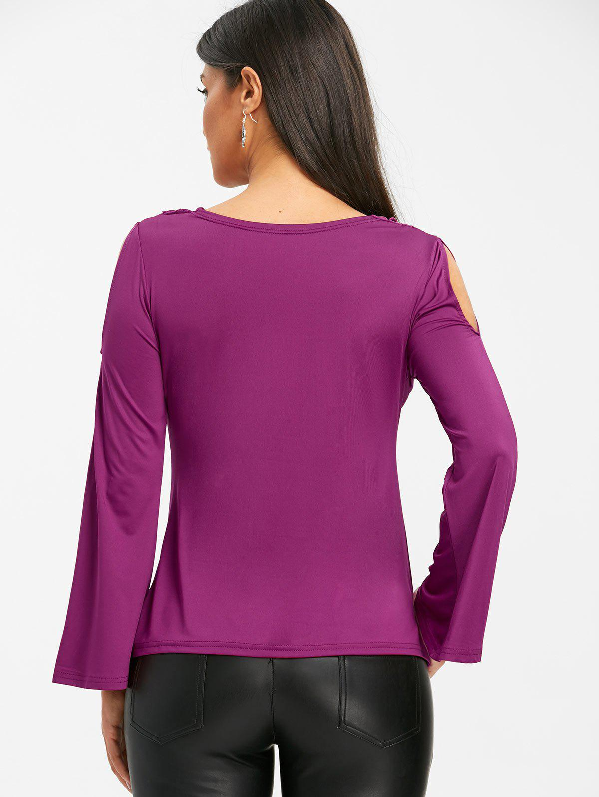 Bell Sleeve Cowl Neck Cold Shoudler T-shirt - PURPLISH RED S