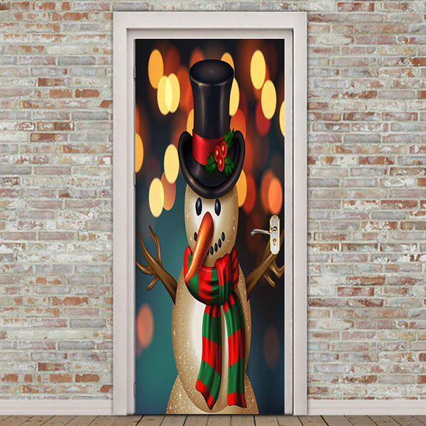 Autocollants de porte amovibles Starlight Christmas Snowman - coloré 38.5*200CM*2PCS