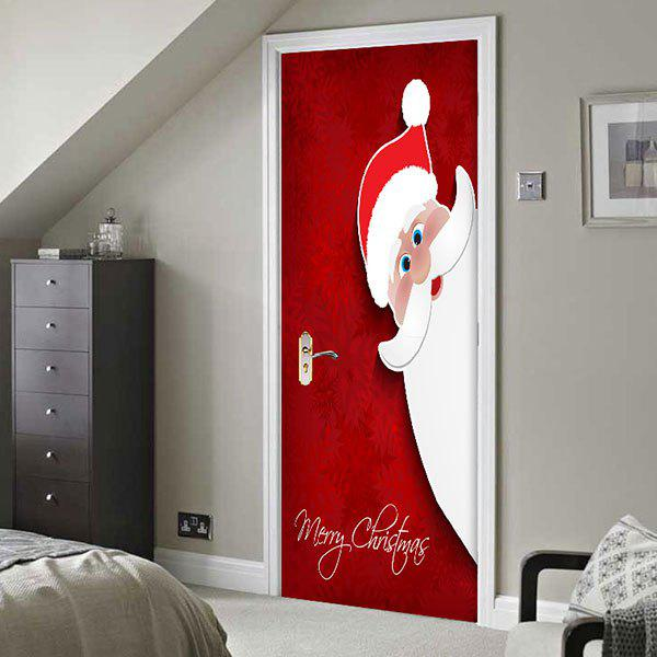 Santa Claus Printed Environmental Removable 2Pcs Door Stickers   RED  38.5*200CM*2PCS