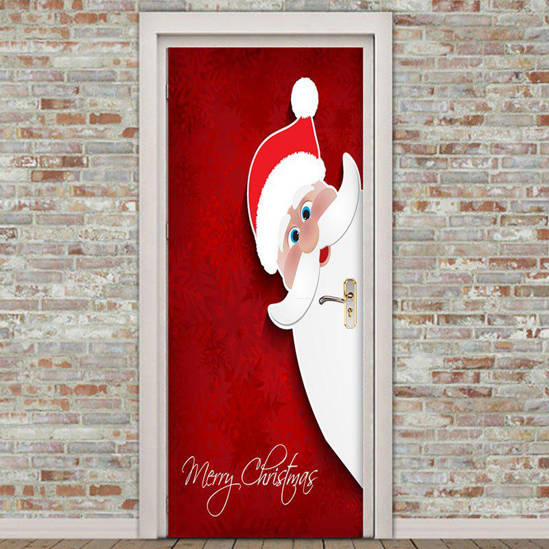 ... Santa Claus Printed Environmental Removable 2Pcs Door Stickers - RED 38.5*200CM*2PCS ...