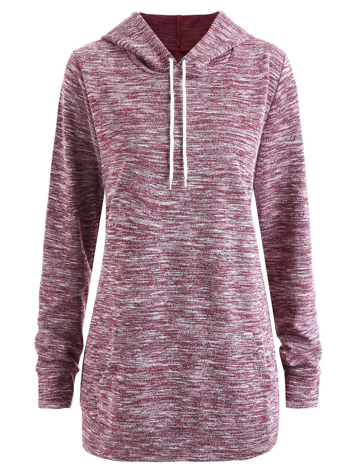 Heather Plus Size Hoodie - WINE RED 3XL