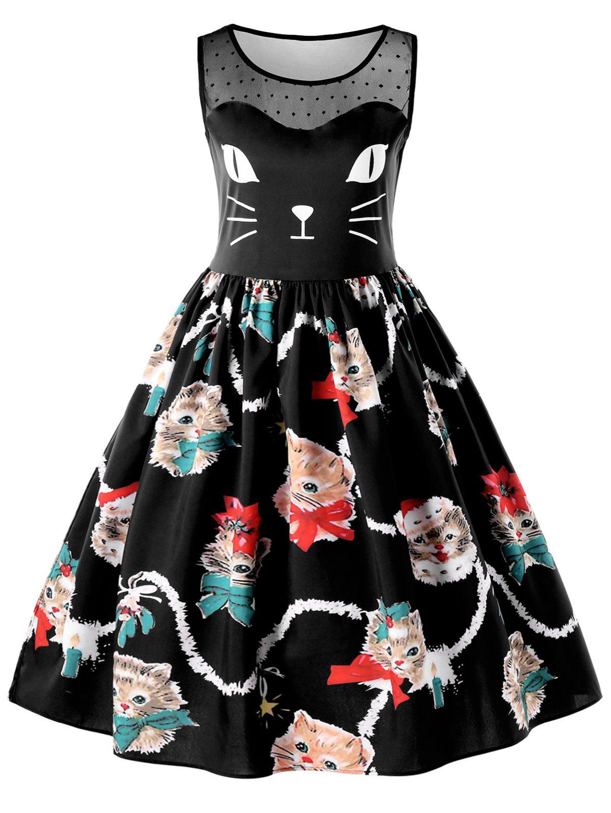 Kitten Print Sleeveless Fit and Flare Dress - BLACK L
