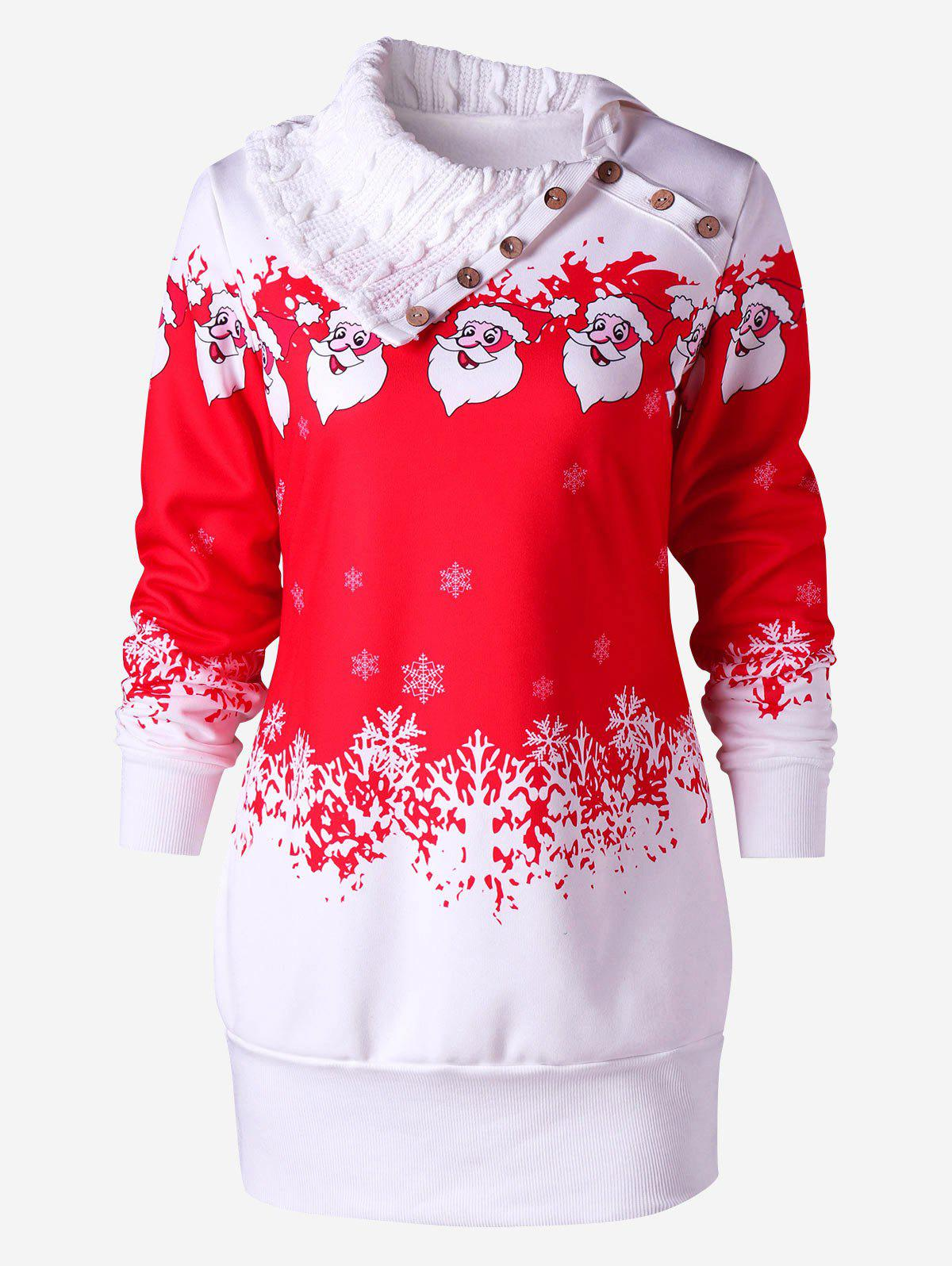 Santa Claus Printed Fleece Tunic Sweatshirt Dress - RED XL