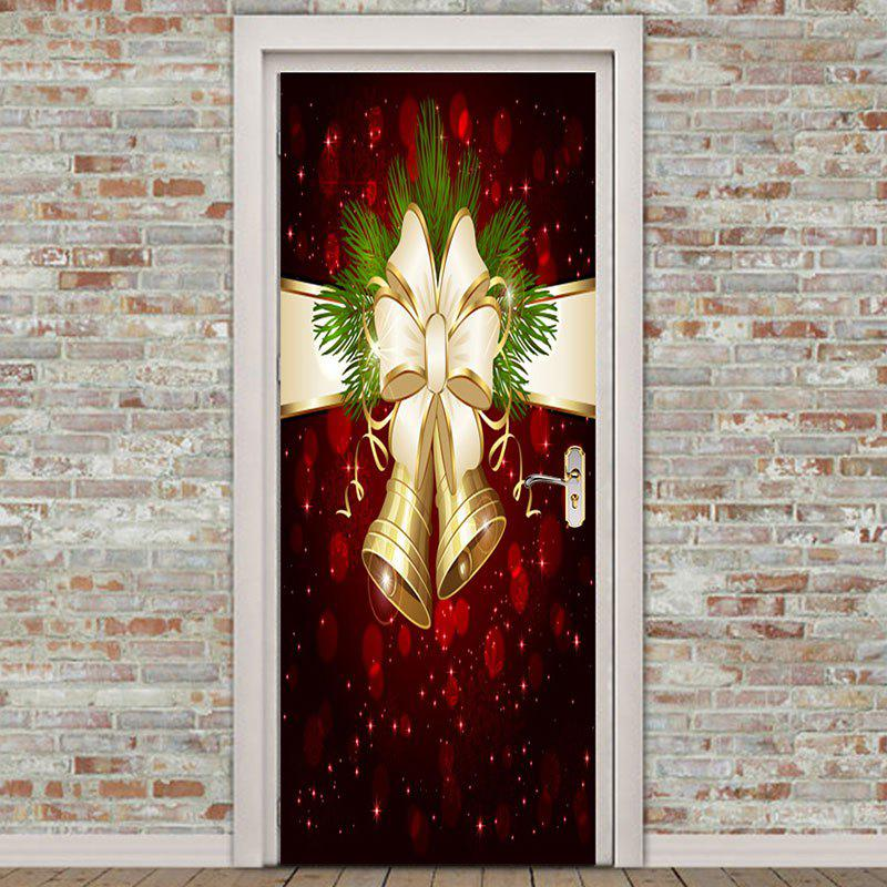 Environmental Removable Christmas Bell Printed 2Pcs Door Stickers - COLORFUL 38.5*200CM*2PCS