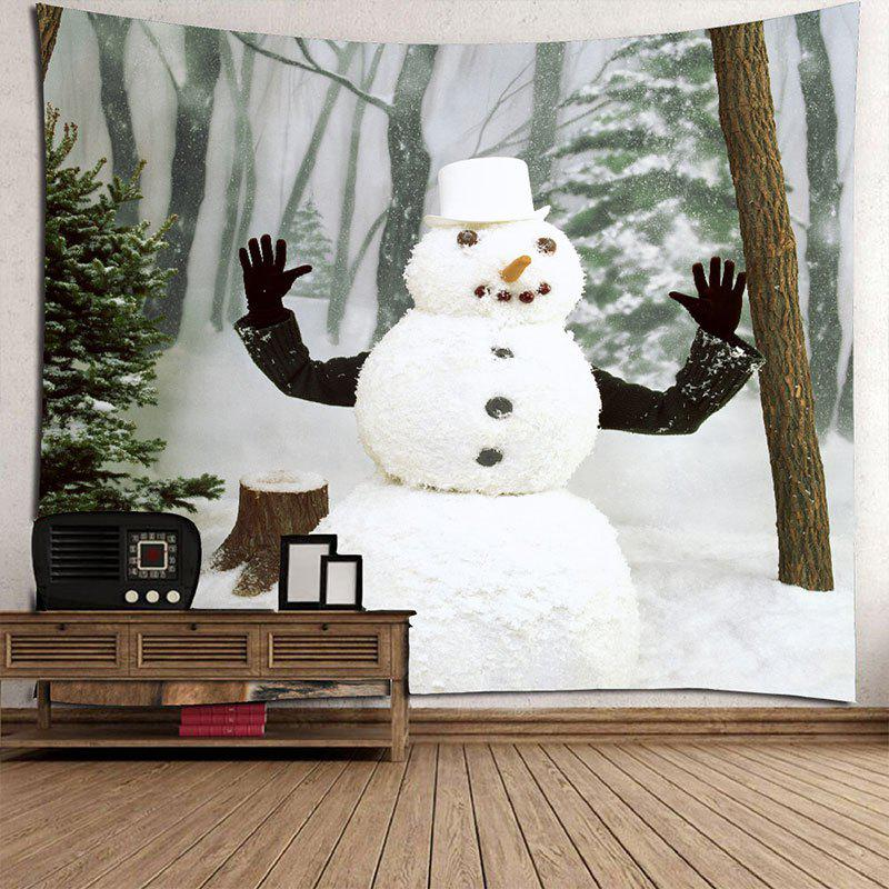 Winter Forest Snowman Printed Wall Art Tapestry - WHITE/GREEN W79 INCH * L71 INCH