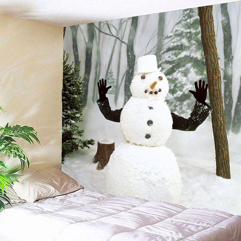 Winter Forest Snowman Printed Wall Art Tapestry - WHITE/GREEN W79 INCH * L79 INCH