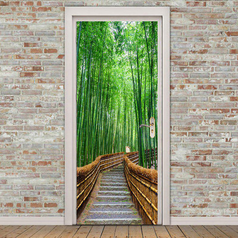 ... Environmental Removable Bamboo Forest Trail Printed Door Stickers    GREEN 38.5*200CM*2PCS ...