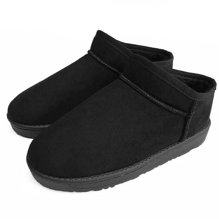 Faux Fur Lined Warm Round Toe Snow Boots - BLACK 38