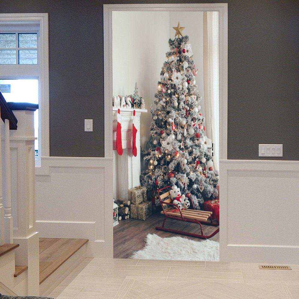fireplace and christmas tree pattern door cover stickers colormix