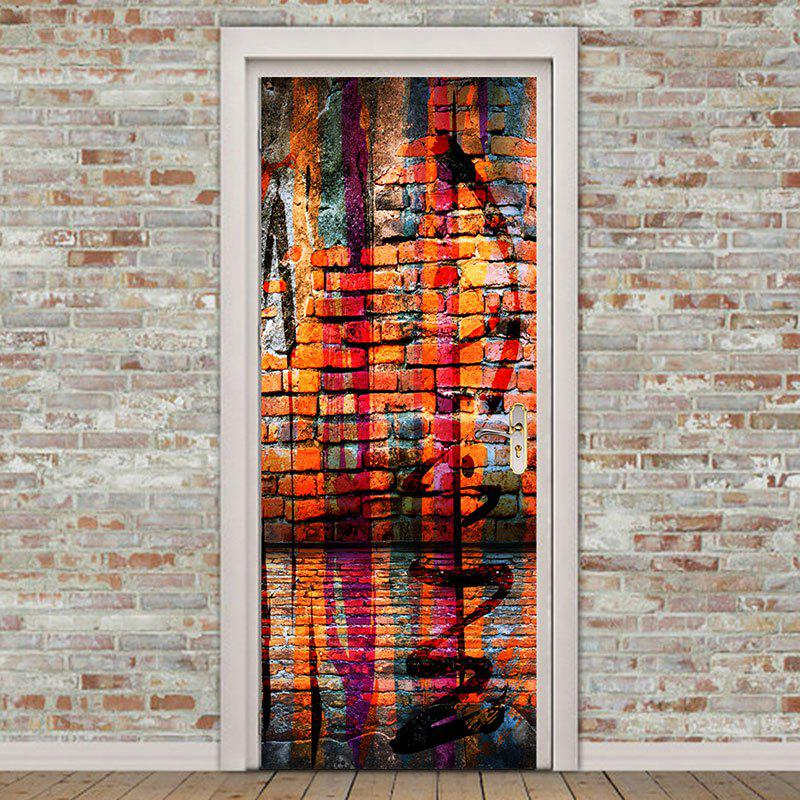 Home Decor Colorful Bricks Wall Pattern Door Stickers - COLORFUL 38.5*200CM*2PCS