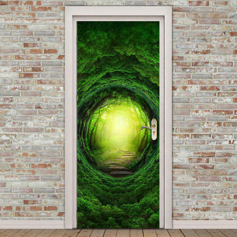 Environmental Removable Forest Tree Hole Printed Door Stickers - GREEN 38.5*200CM*2PCS & 2018 Environmental Removable Forest Tree Hole Printed Door ... pezcame.com