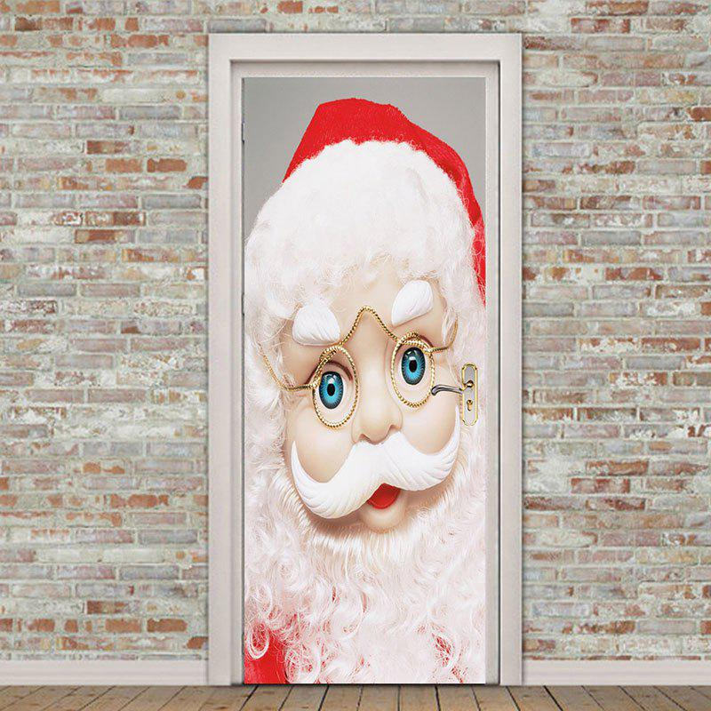 Eyeglasses Santa Claus Printed Environmental Removable Door Stickers fat santa claus pattern door cover stickers