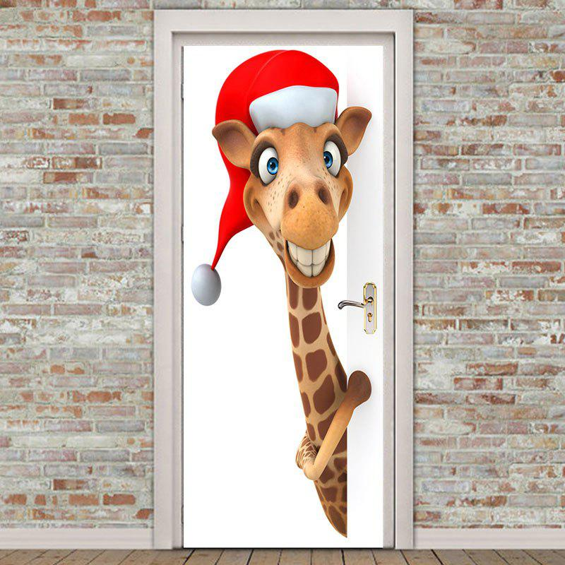 Environmental Removable Giraffe Pattern 2Pcs Christmas Door Stickers - BROWN 38.5*200CM*2PCS